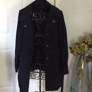"36"" length Beautiful Navy Trench coat/hood size XL"